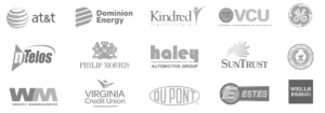 A list of clients that century construction has worked with. black and white. includes at&t and Dominion energy.