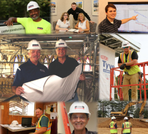 a collage of century construction workers formatted for a mobile device.