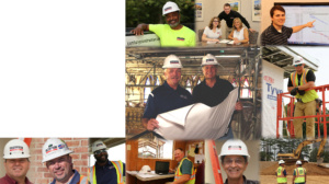 a collage of century construction workers
